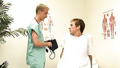 Naughty young twink doctor is teasing his gay patient