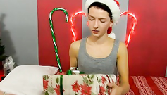 Hot gay boys with Christmas candy are hotly kissing each other