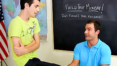 Mid age twink teacher is giving hot blowjob to his student